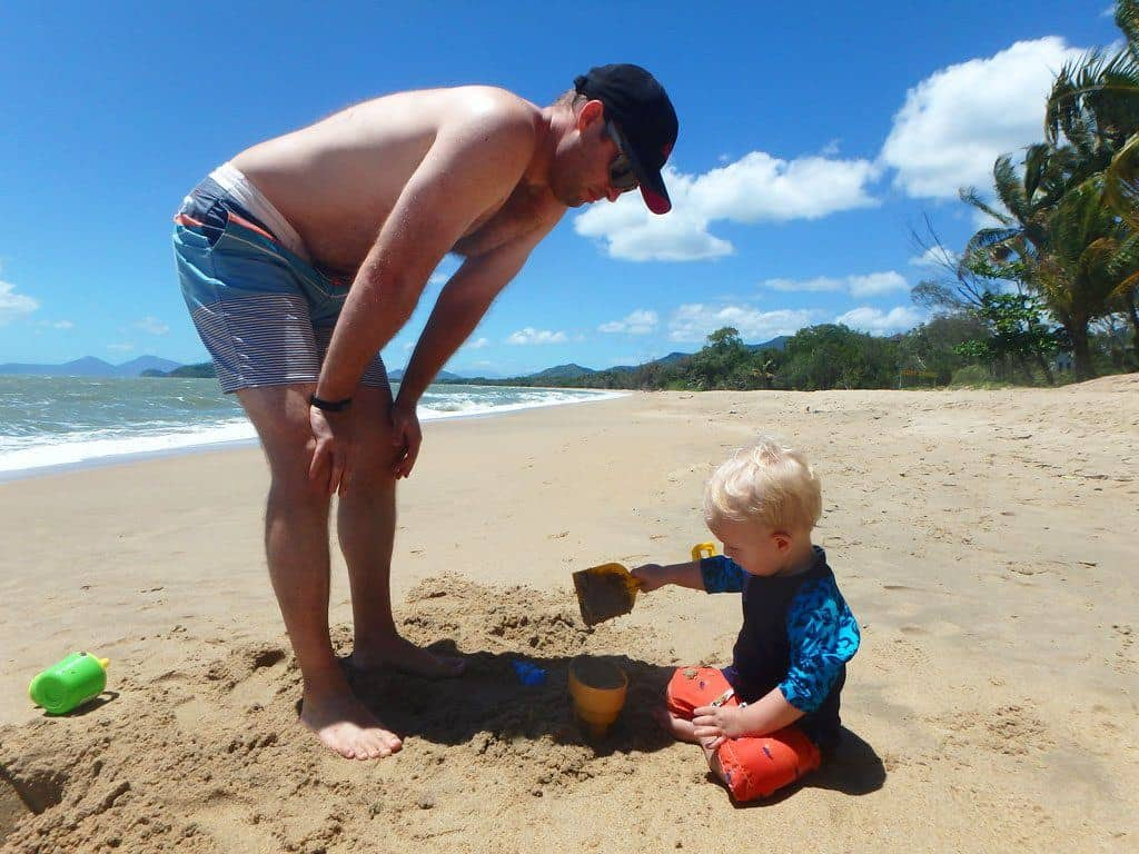 Playing on beach in Cairns