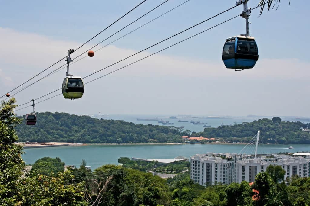 Singapore cable car with kids