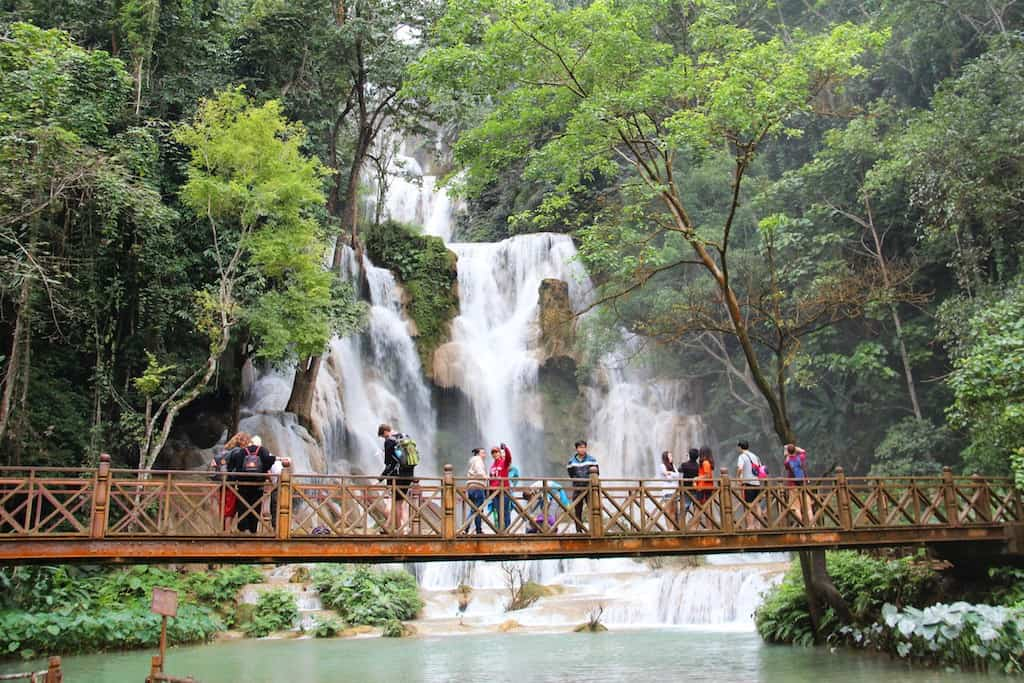 Kuang Si Waterfall viewing platform