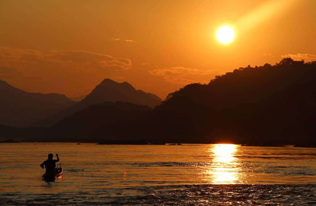Sunset on Mekong River Luang Prabang