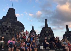 Watching sunrise at Borobudur