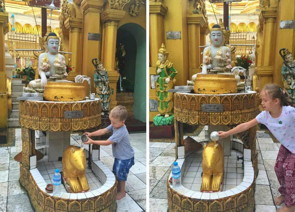 Pouring water at Shwedagon Pagoda