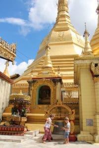Sule pagoda with kids