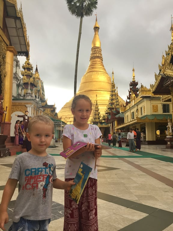 Shwedagon pagoda Myanmar with kids