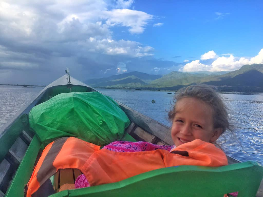 Myanmar longboat with kids