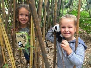 Chengdu panda base kids with souvenirs