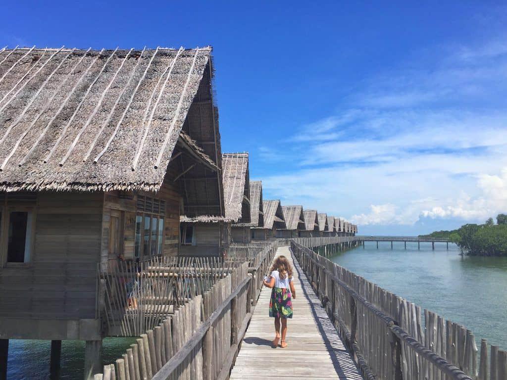 Telunas private island boardwalk