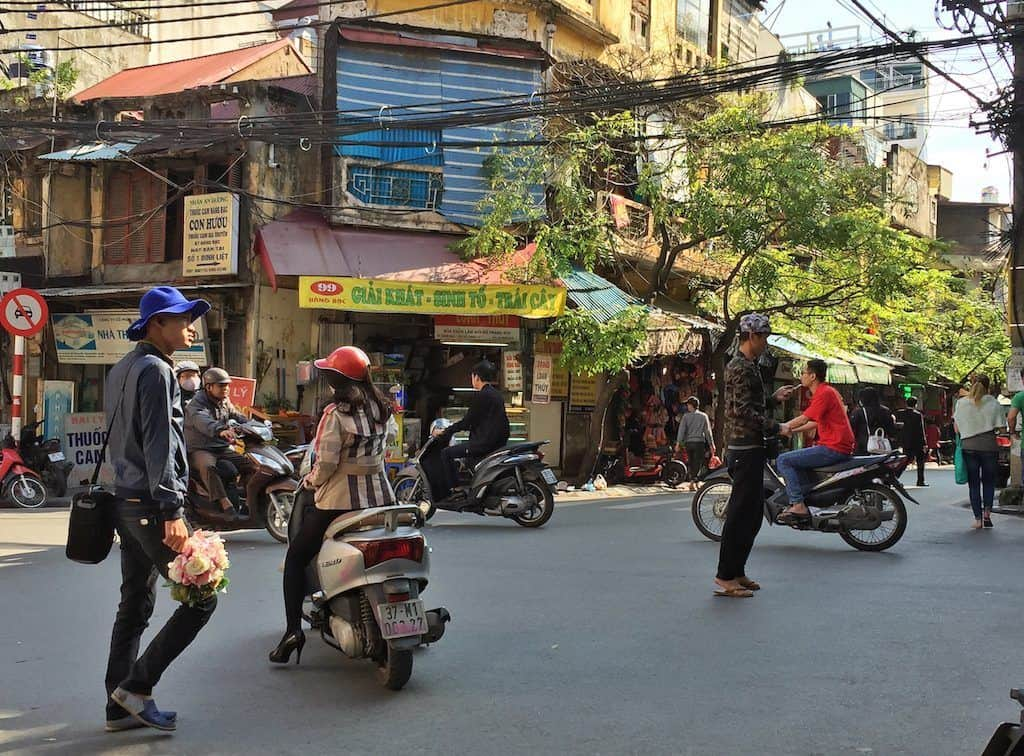 Old Quarter hanoi with kids