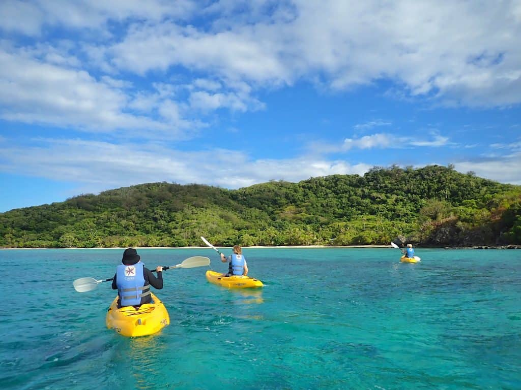 Kayaking around Castaway Island Fiji resort