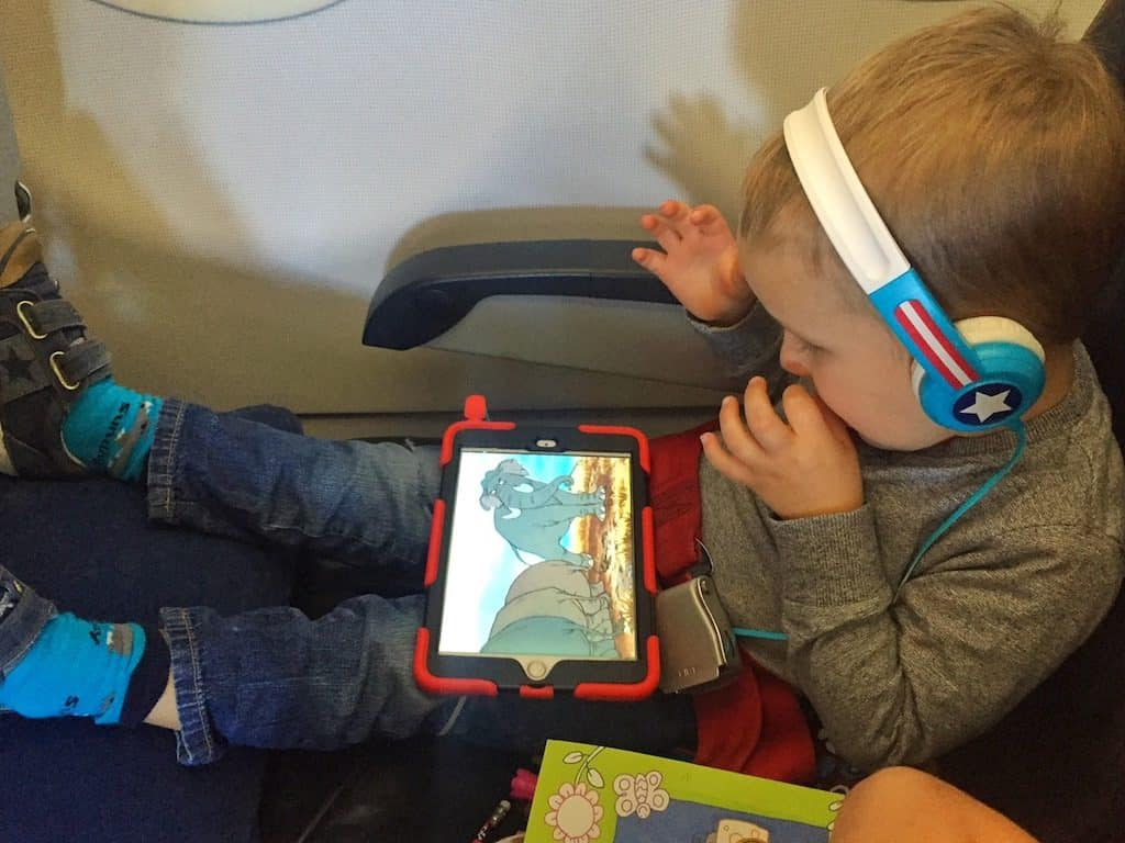 toddler iPad on plane