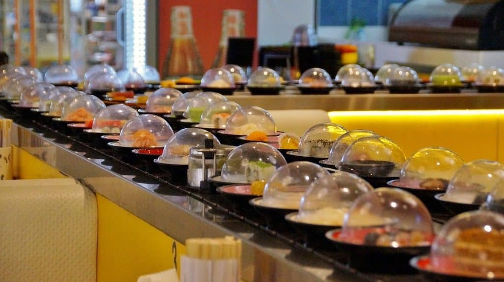 Tokyo sushi restaurant with sushi train