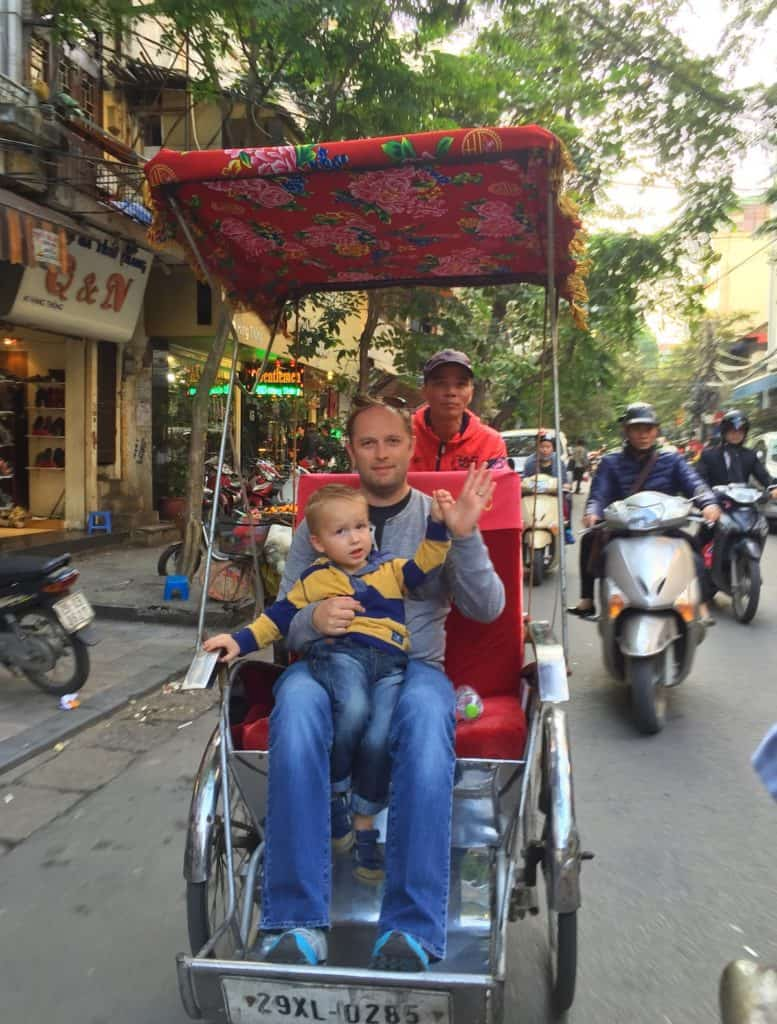 Family on Cyclo Hanoi