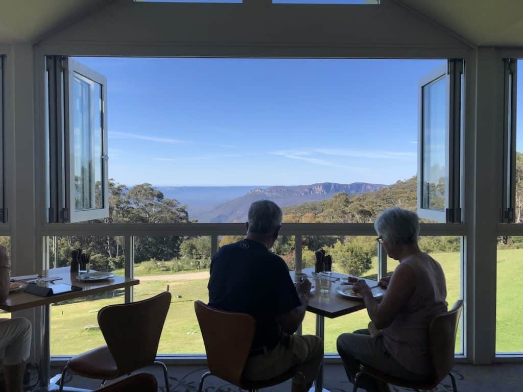 People having breakfast at the Blue Mountains Fairmont resort with view of mountains