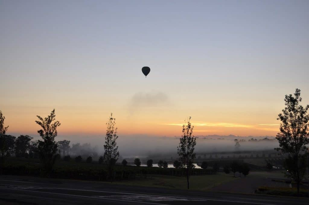 Hot air Ballooning Hunter Valley at sunrise