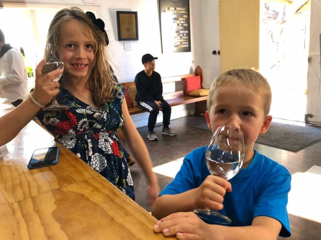 Kids in tasting room of Hunter Valley winery