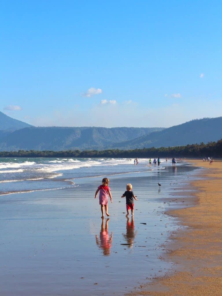 Kids on Four Mile Beach Port Douglas