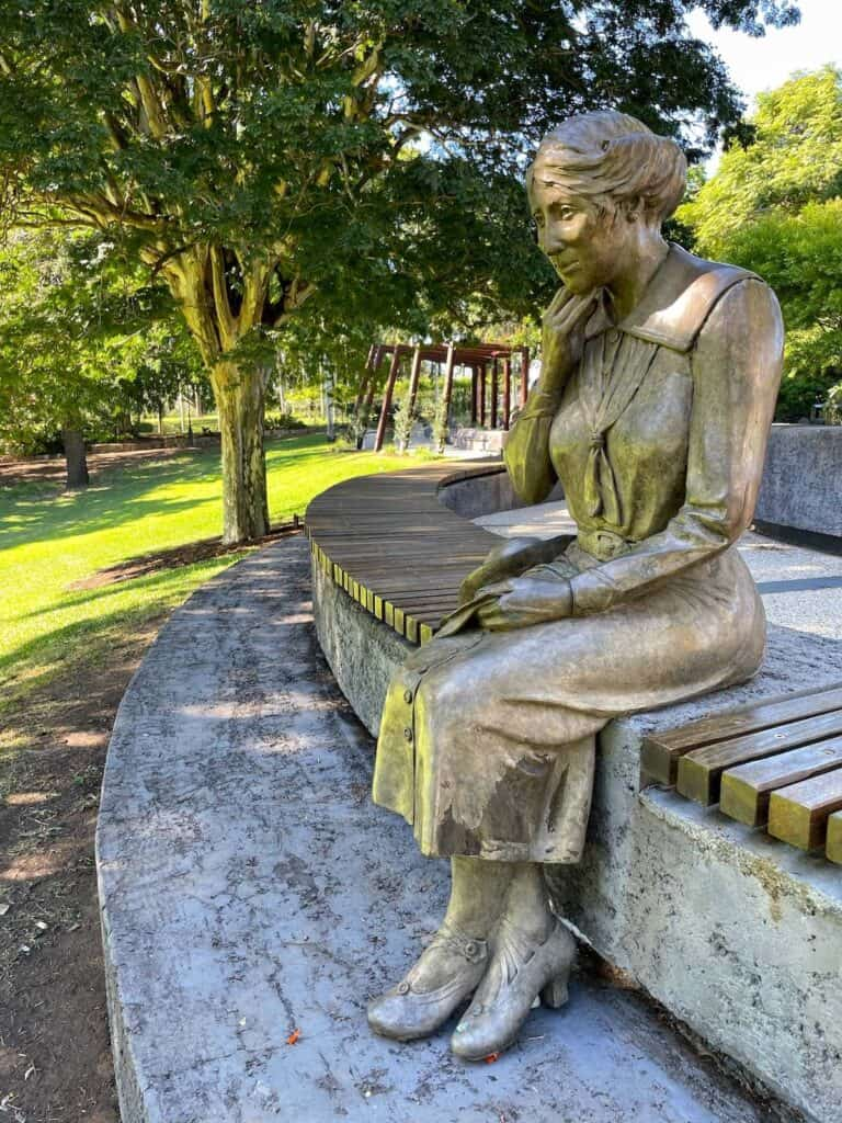 Mary Pozieres statute in garden at  Gallipoli to Armistice memorial in Maryborough