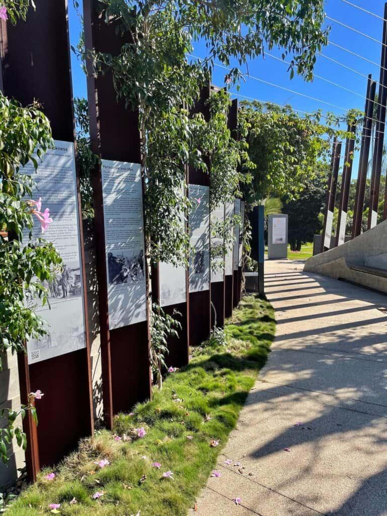 Information displays at Gallipoli to Armistice memorial in Maryborough