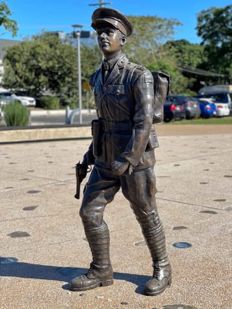Statue of Duncan Chapman at Gallipoli to Armistice memorial in Maryborough