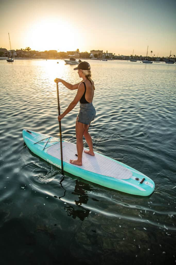 Girl on Tower inflatable paddle board